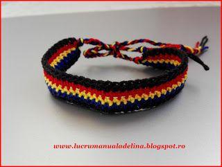 lucru manual adelina: Bratara crosetata tricolora pentru baieti