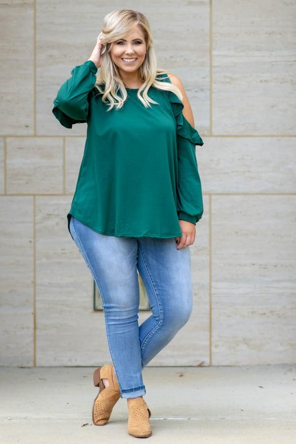 250101032be Giving The Cold Shoulder Top, Hunter Green in 2019 | Be Bold | Green ...