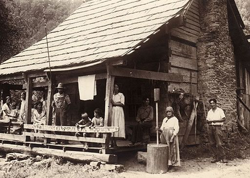 Cherokees in their home in The Great Smoky Mountains