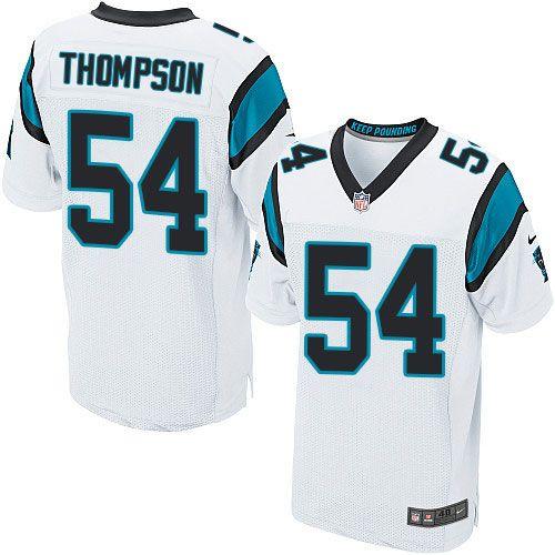Nike Elite Shaq Thompson White Men's Jersey - Carolina Panthers #54 NFL Road
