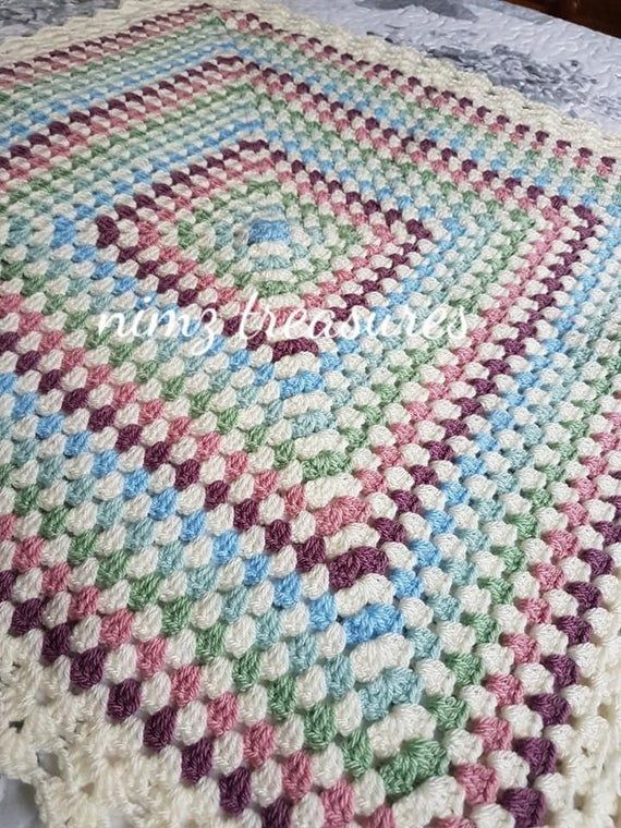 Baby Girls Crochet Pastel Granny Square Blanket Free Uk Mainland Delivery Baby Girls Crochet Pas In 2020 Granny Square Baby Girl Crochet Crochet Granny Square Blanket