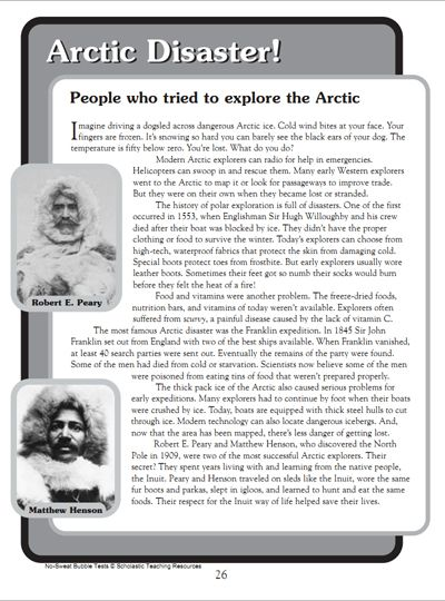 Arctic Disaster! Reading comprehension passage activity for children. free printable from Scholastic.