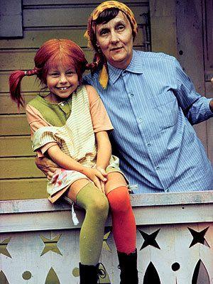 Astrid Lindgren, author (of Pippi stories), and Inger Nilsson, actress, as Pippi Långstrump.