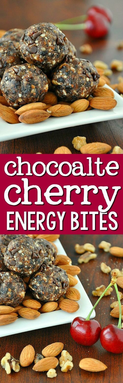 Chocolate Cherry Energy Bites - a delicious larabar chocolate chip cherry torte copycat! Roll them into balls, bites or shape into bars for a healthy snack!