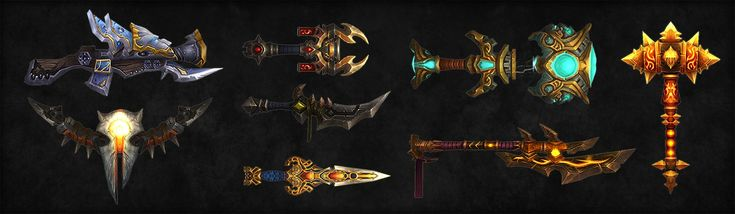 World of Warcraft : Weapons, Kevin Lee on ArtStation at https://www.artstation.com/artwork/world-of-warcraft-weapons