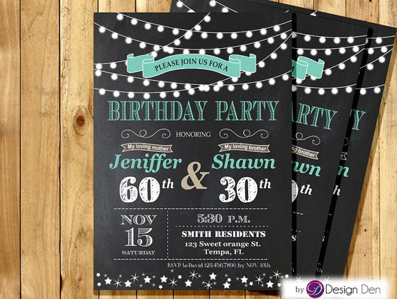 Adult Joint Birthday Invitation. String light by ByDesignDen