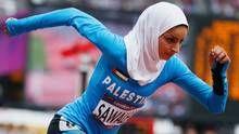 Palestine's Woroud Sawalha, ran her best 800 meters ever at the London Olympics.