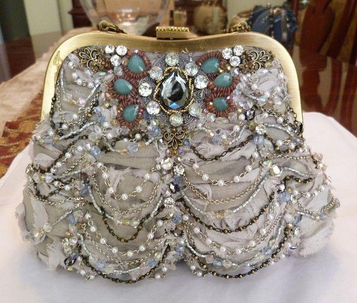 Mary Frances Luna Retired Winter 2017 Silk Glass Bead Handbag Purse New W Tags