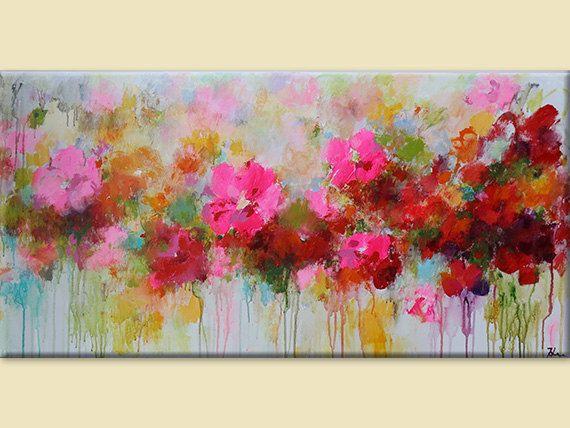 Pintura de flores abstracto flor pintura rojo rosa por artbyoak1