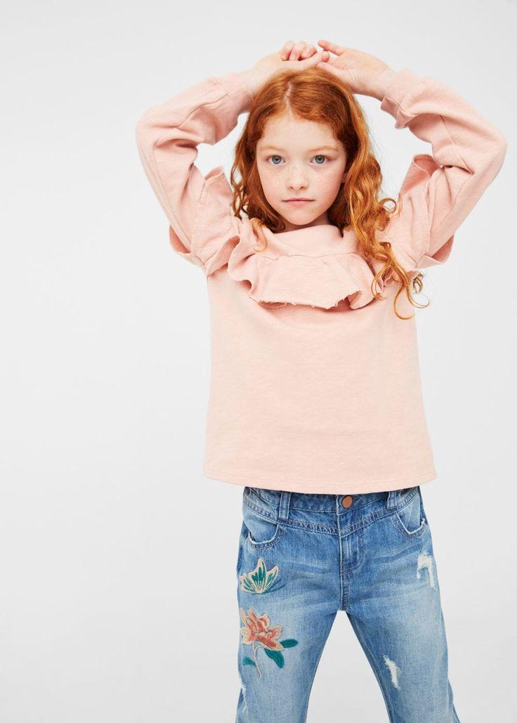 Glitter stars sweatshirt - Girl | MANGO Kids USA