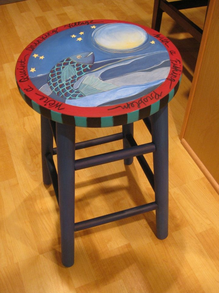 Painted Stool Painted Chairs Pinterest Painted