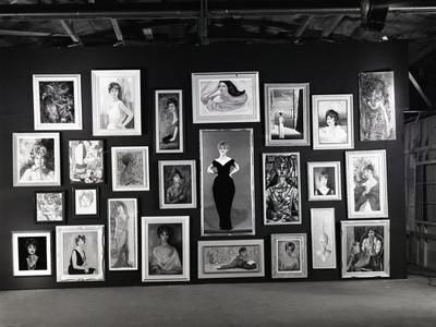 Actress Barbara Rush Posing in a Frame Cut-Out on a Wall Full of Paintings of Herself, 1960 Photographic Print by Ralph Crane at Art.com