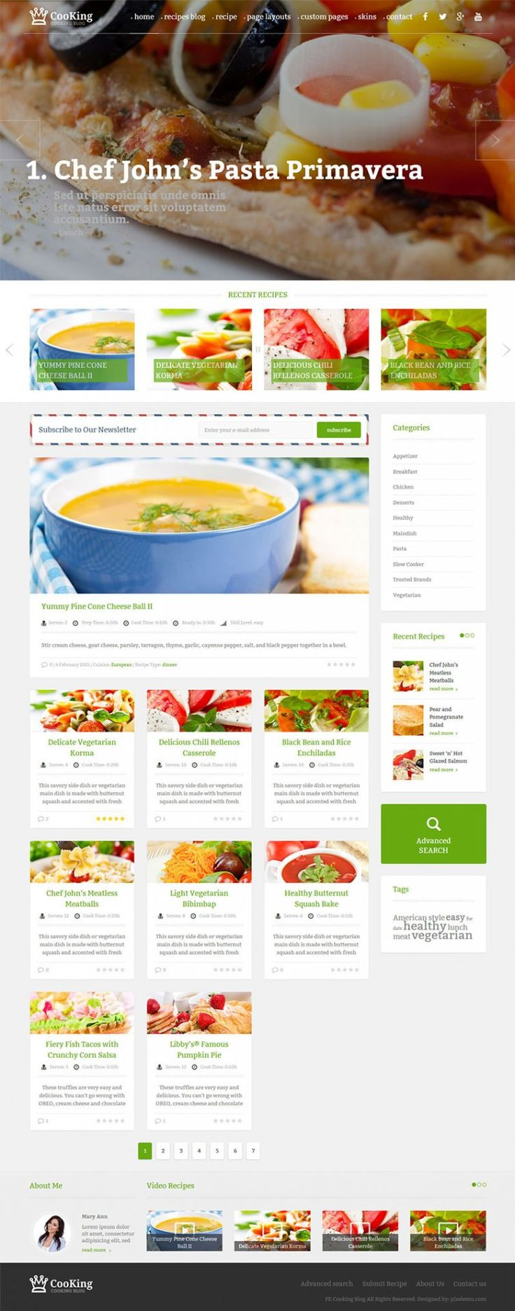 Cooking Blog WordPress theme Example with vertical full-width header #blog #cooking #food #recipes #wordpress #theme https://www.pixelemu.com/wordpress-themes/i/1-cooking-blog