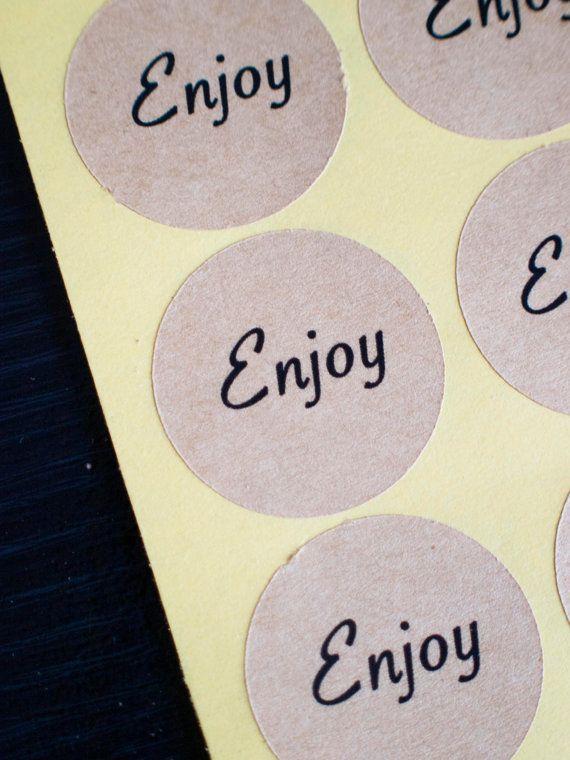 34mm round enjoy brown kraft stickers by ctdscraftsupply on Etsy