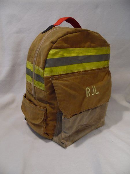 Traditional Firefighter Recycled Gear Backpack | Firefighter EMS Bunker Gear and Turnout Gear Recycled Bags