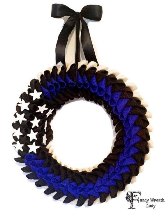 Blue Lives Matter American Flag Wreath  Police by FancyWreathLady