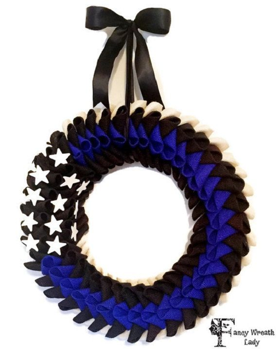 Blue Lives Matter American Flag Wreath, Police Lives Matter Wreath, Thin Blue…