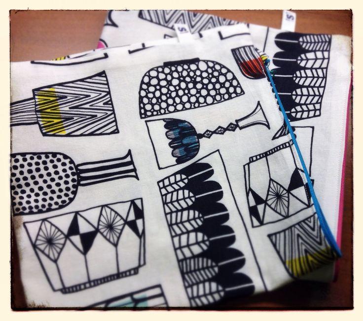 Pillow cases, material by Marimekko. Tyynynpäälliset Marimekon Kippis-kankaasta.