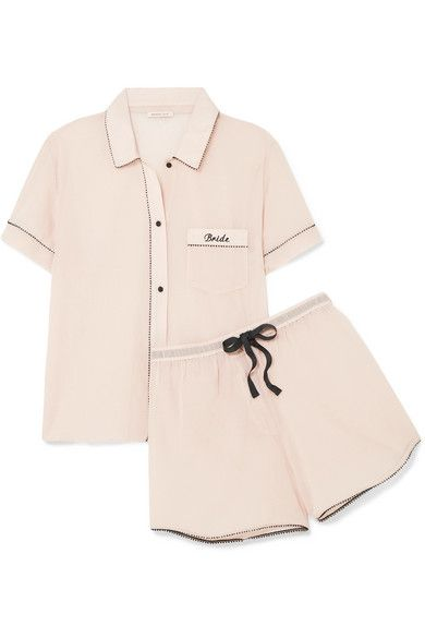 bd52b68eb2a28 Morgan Lane - Bride Embroidered Cotton-gauze Pajama Set - Blush ...