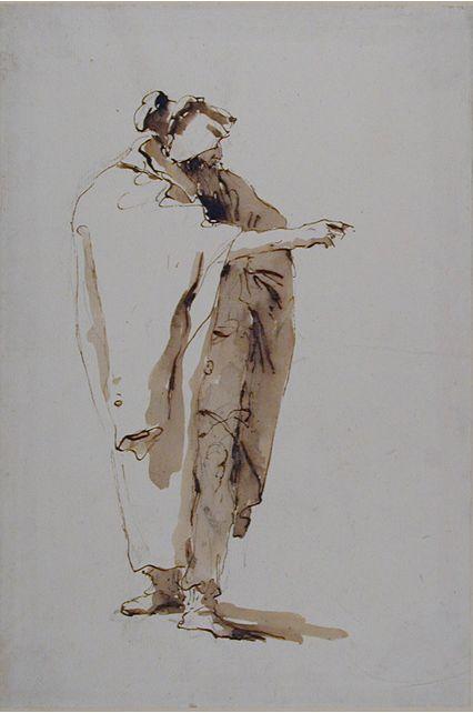 Giovanni Battista Tiepolo (1696-1770), Figura in piedi di un uomo con la barba, penna e inchiostro bruno con lavaggio marrone, tratto nero su carta bianca. Oxford, The Ashmolean Museum.