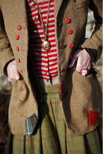 Eliza Doolittle fashion Red stripes, red buttons, plaid and tweed, and patchwork patches.