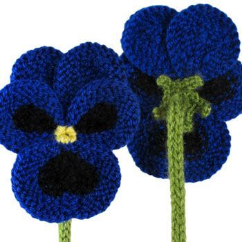 Pansies to Knit - Free Pattern by Oddknit. Knit these gorgeous blue hued pansies with a long stem to decorate your home with! Free Pattern