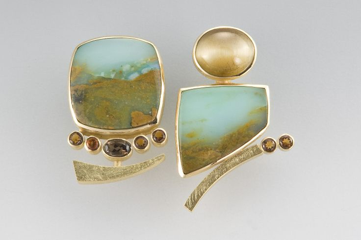 Janis Kerman Earrings - 18kt yellow gold, tigers eyes, peruvian opal, smokey quartz, citrine