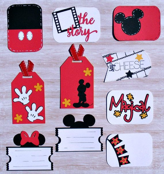 Handmade Mickey and Minnie Die Cut Embellishments and Journaling Cards