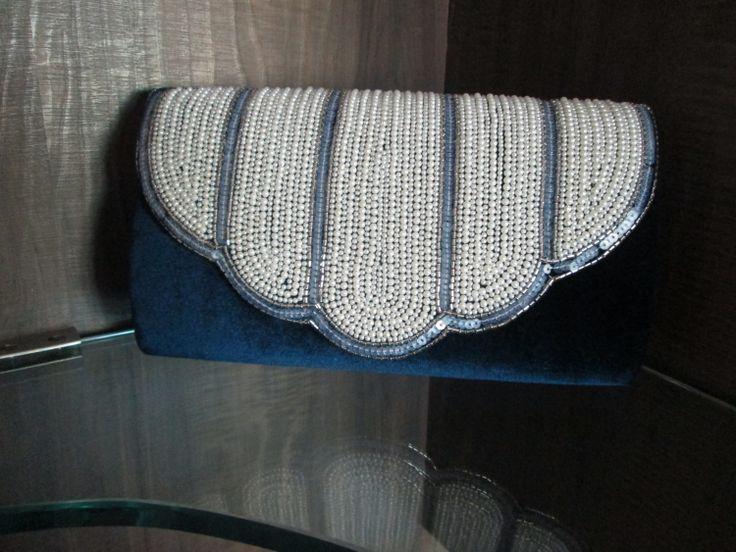 Navy Blue Velvet Pearl Clutch