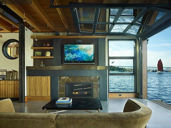 Houseboat interior houseboat glamping glamptrotter houseboat pinterest awesome - Floating house seattle ...