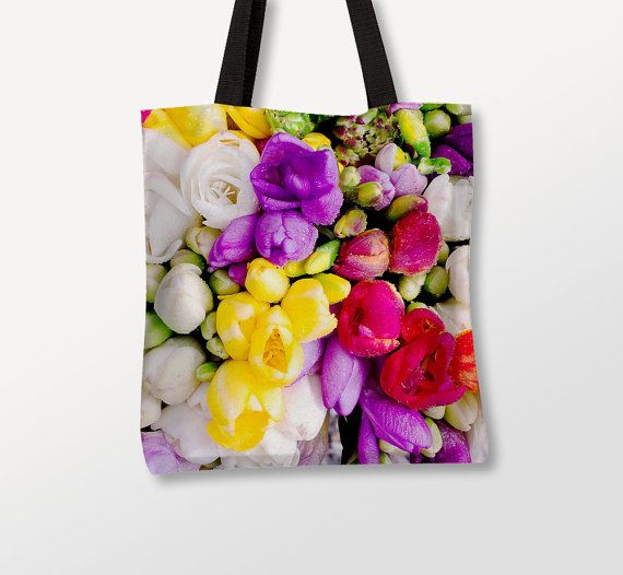 Flowers Art Bag, Multicolor Fabric, Floral Tote Bag, Wedding Gift. Photo by Donatella Tandelli.  DETAILS This tote bag is ideal for everyday use.