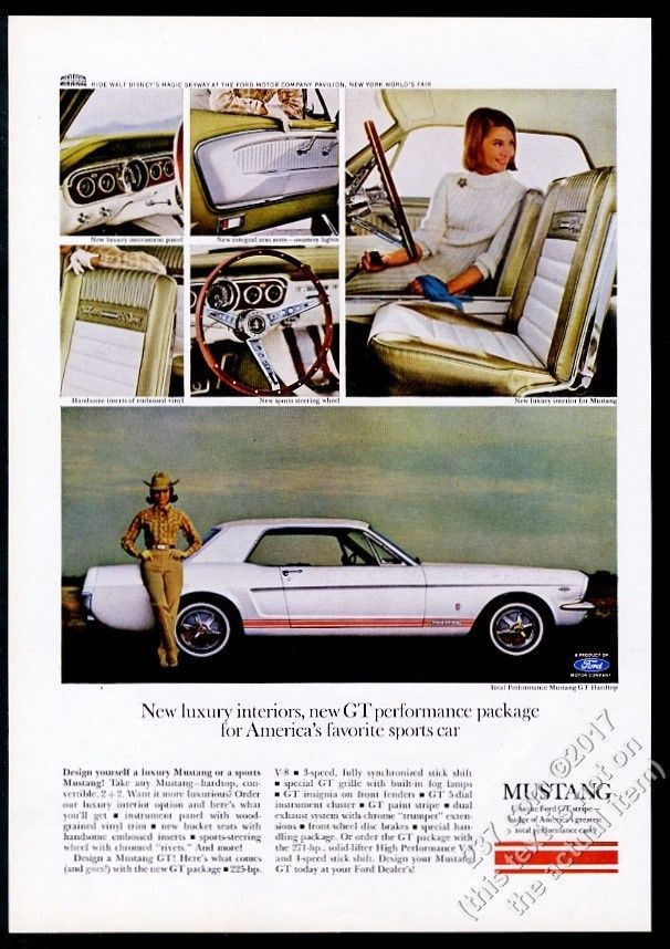 1965 Ford Mustang Gt White Car Red Stripes 6 Color Photo Vintage