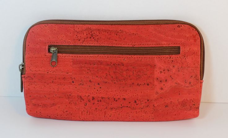 Zip Around Wallet - Red Cork leather fabric by ReBagUfactured on Etsy
