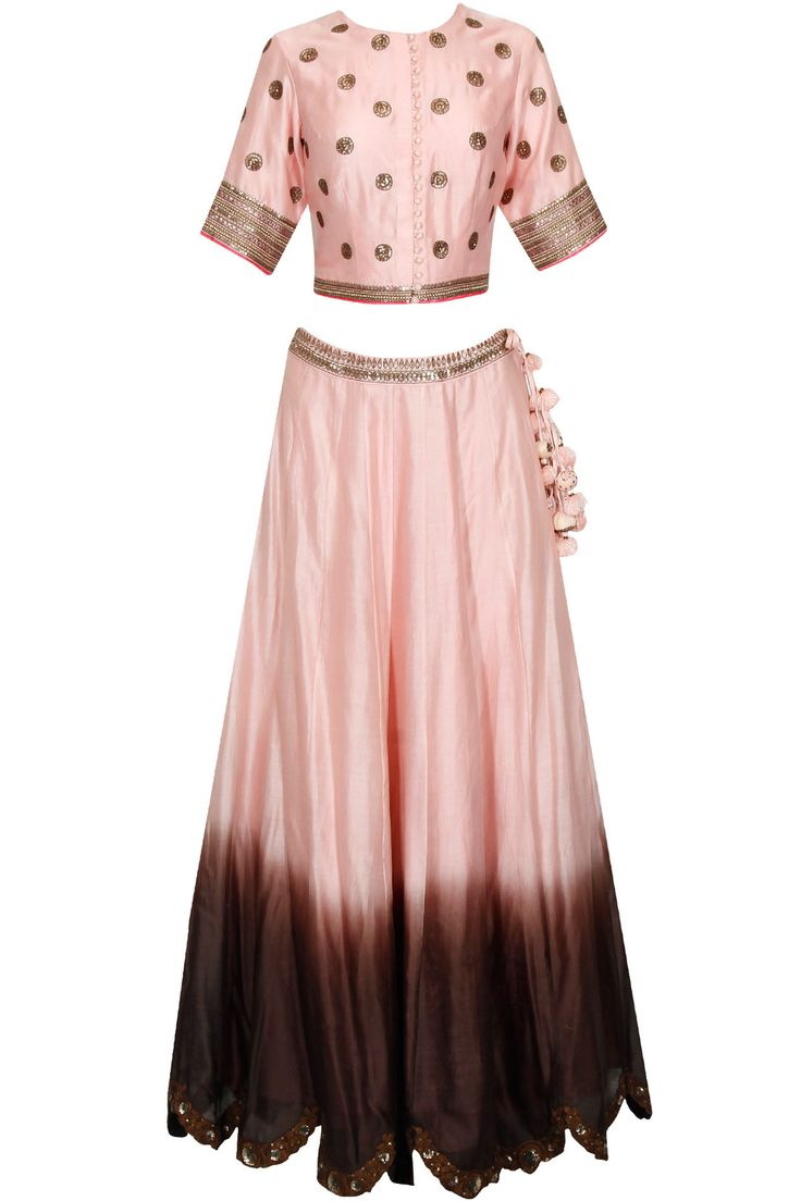 Light pink and brown ombre embroidered lehenga set available only at Pernia's Pop Up Shop. #perniaspopupshop #shopnow #newcollection #festive #wedding #RadhikaAiri#clothing#happyshopping