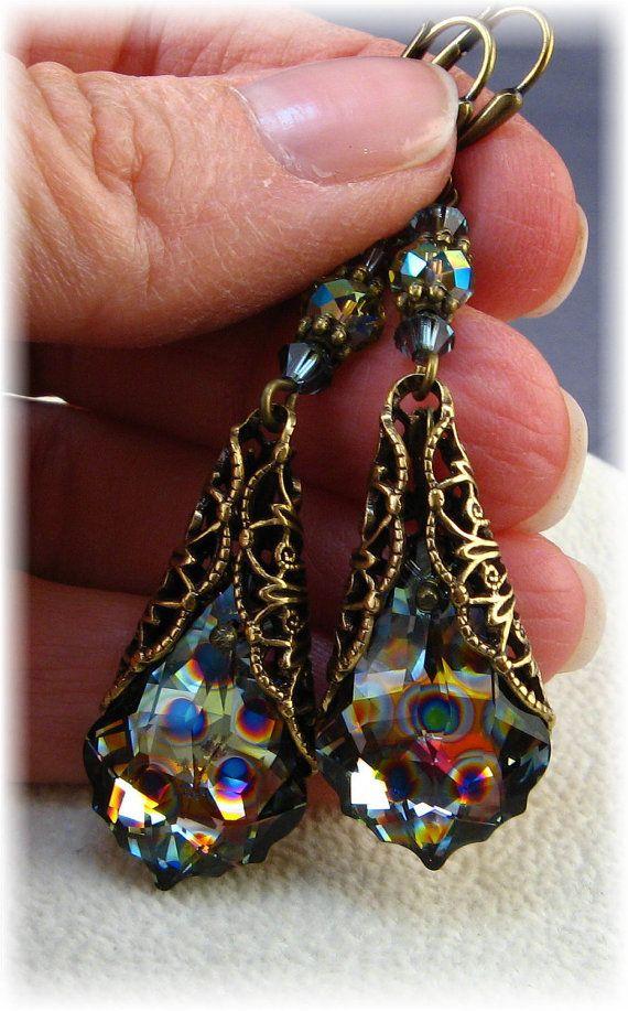 New Swarovski Peacock Coated Crystal Vintage Antique Gold Filigree Baroque Pendant Earrings, $40.00