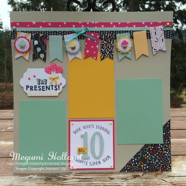 Megumi's Stampin Retreat: Party Wishes Scrapbook Pages