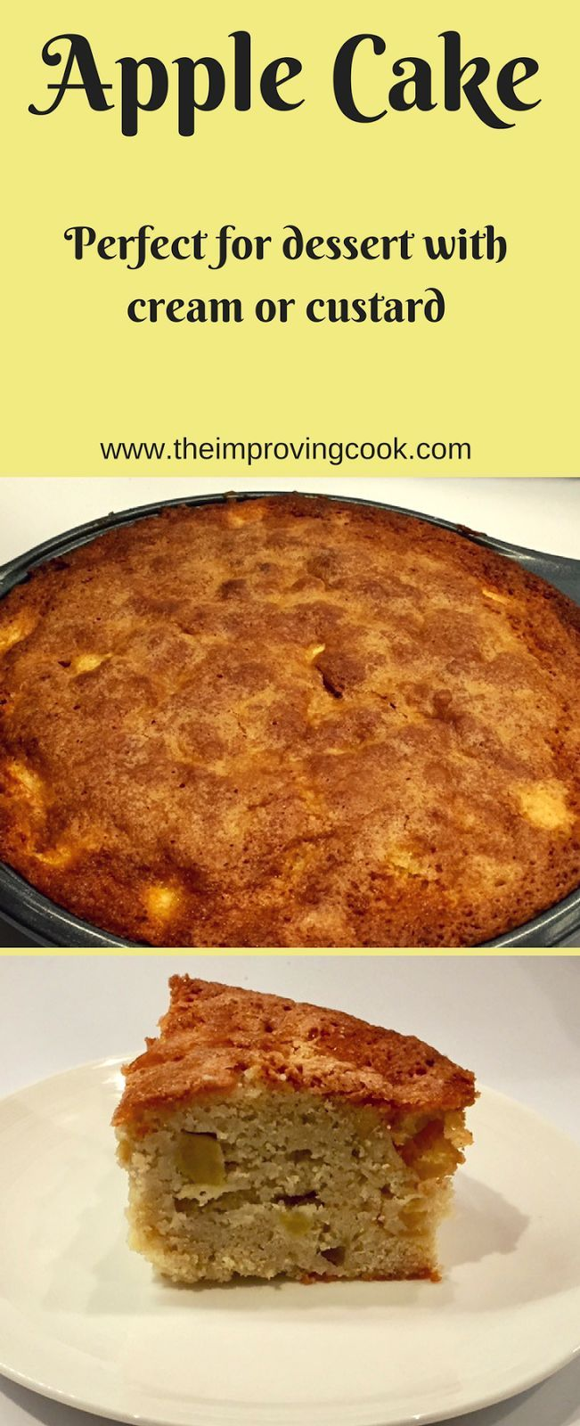 The Improving Cook Apple Cake- use up left-over apples to make this apple cake. Eat a slice on its own or serve it warm with cream or custard. Makes a great winter dessert recipe.