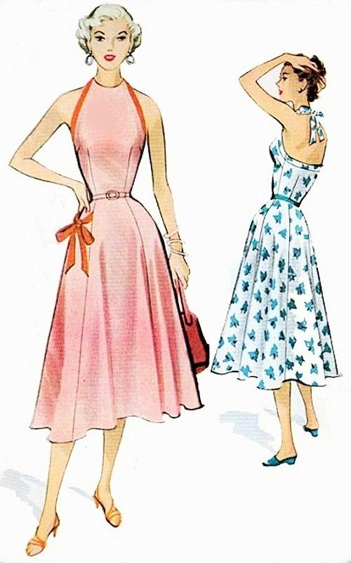 1950s Halter Sun Dress Pattern McCalls 9399 Sizzling Marilyn Monroe Style Rockabilly Day or Cocktail Party Dress Bust 32 Vintage Sewing Pattern