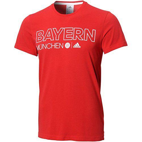 adidas Men's Soccer FC Bayern Munich Tee, True Red/White, Medium