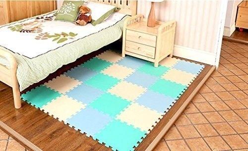 Dalles 20 pièces pour tapis de jeu bébé  blanc bleu Amazon