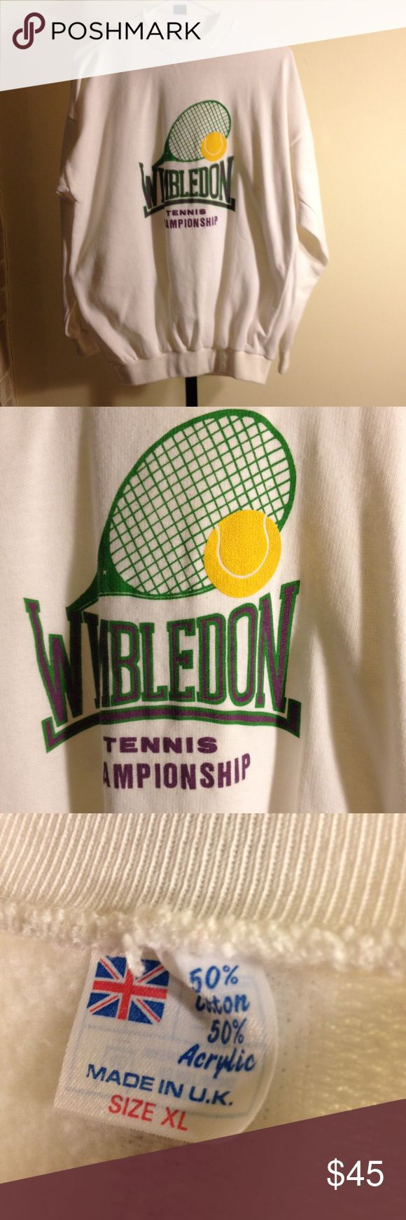 Vintage 1980's  wimbledon sweatshirt xl Vintage sweatshirt owned by one of the top 10 tennis players in the world. Great vintage condition made in england lulumon Tops Sweatshirts & Hoodies