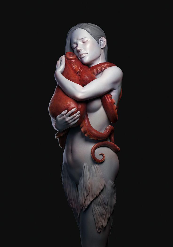 OctoHug, Kontorn Boonyanate on ArtStation at https://www.artstation.com/artwork/QNbVZ