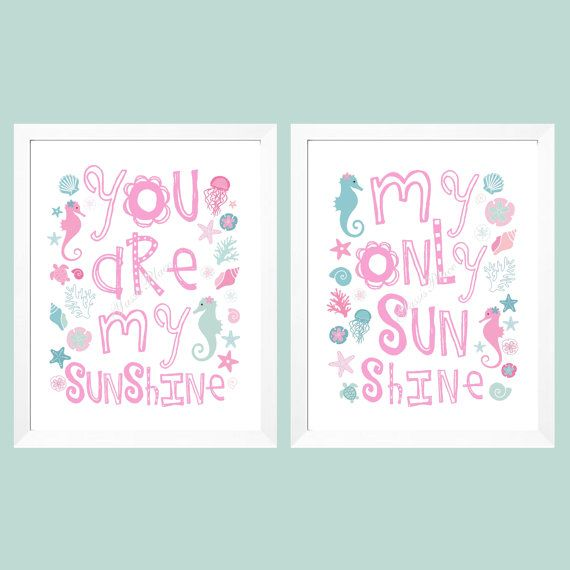 Seahorse Nursery Art for girl - You Are My Sunshine Art Prints - Pink and Aqua seahorse, shells, marine animals, starfish, coral 8x10 on Etsy, $36.00
