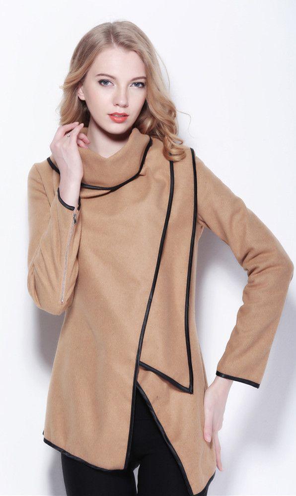 Stylish Turn-Down Collar Long Sleeve Irregular Wool Cloak Coat For Women