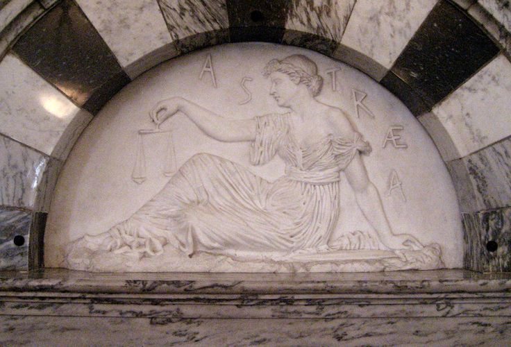An 1886 bas-relief figure of Astraea in the Old Supreme Court Chamber at the Vermont State House.