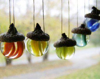 EIN Eichel Vintage Glas Marmor Ornament für Weihnachten Herbst Sun Catcher deutsche Tradition Graduation N