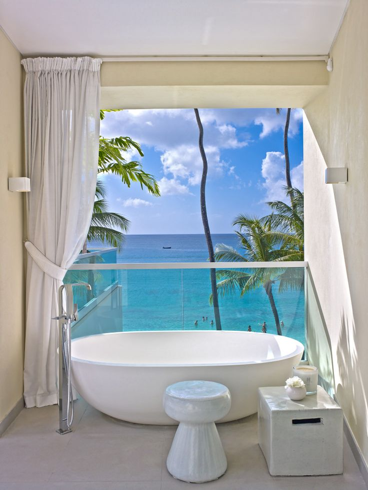 apaiser's refined elegance sets the scene in Kelly Hoppen MBE's Caribbean paradise | pictured here is the apaiser Haven bath. www.apaiser.com