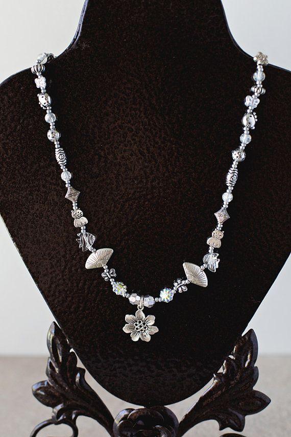 Silver Charm Necklace OOAK Handmade by JeniandPatsBeadHive on Etsy