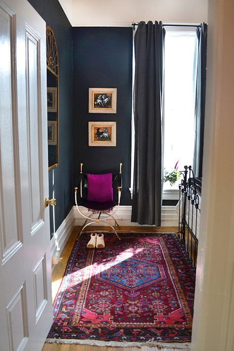 Image above: Our bedroom is tiny and feels like a real sanctuary. The rug is from Pak Oriental Rugs, the mirror from an estate sale, and the...