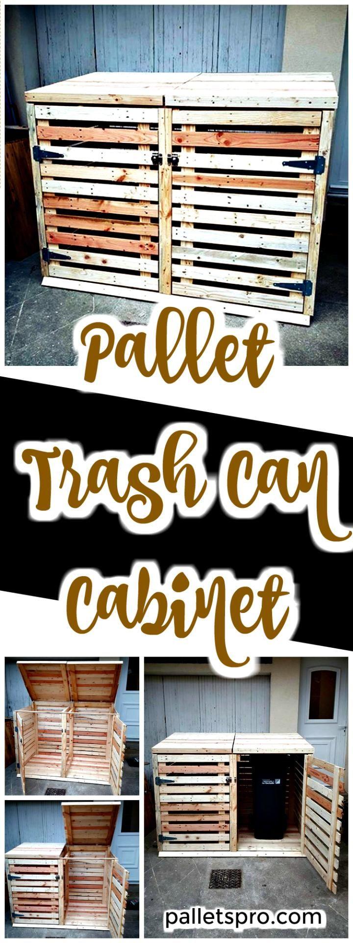 Pallet Trash Can Cabinet - Pallets Pro
